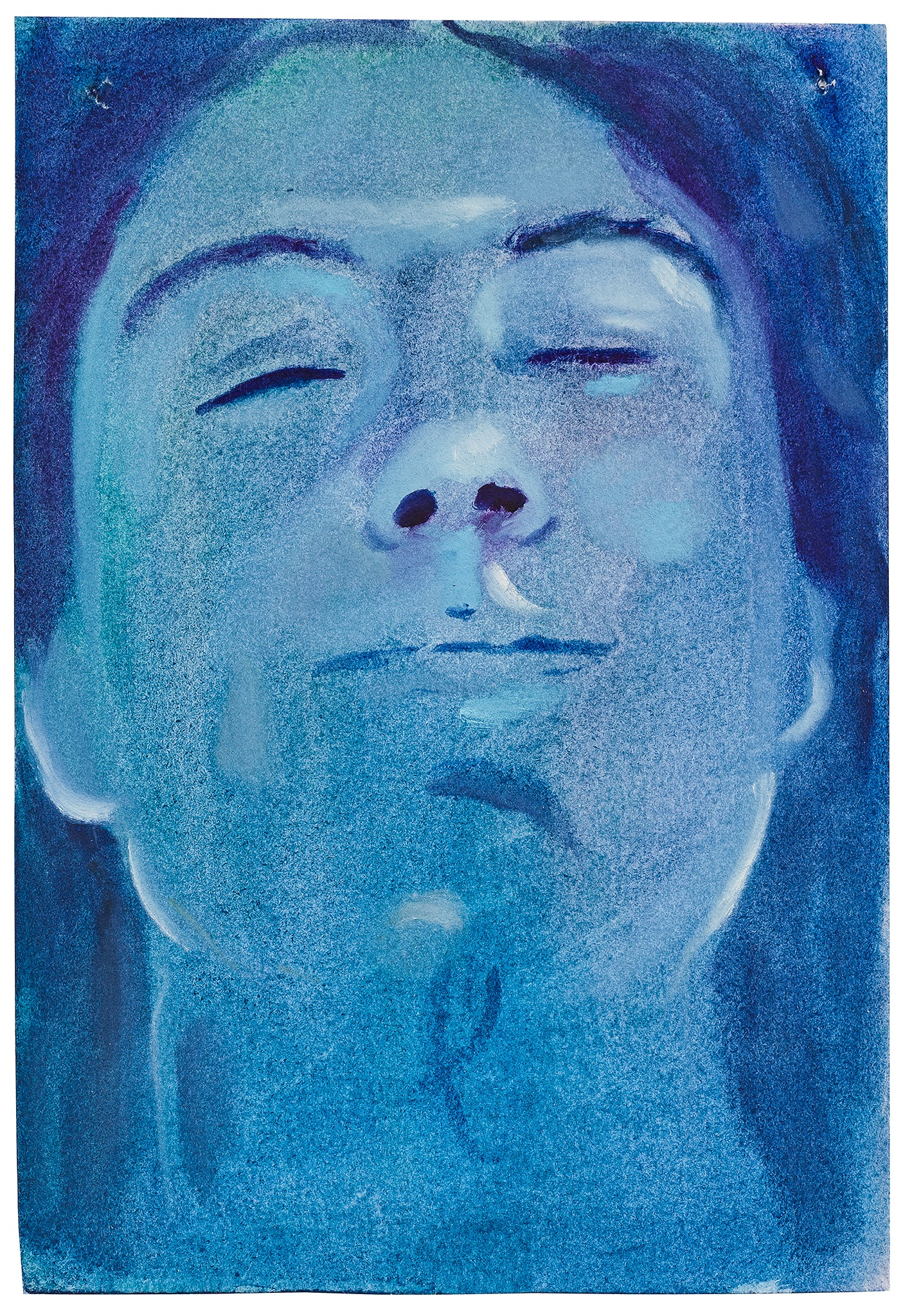A painting by Aaron Michael Skolnick titled Blue, dated 2020.
