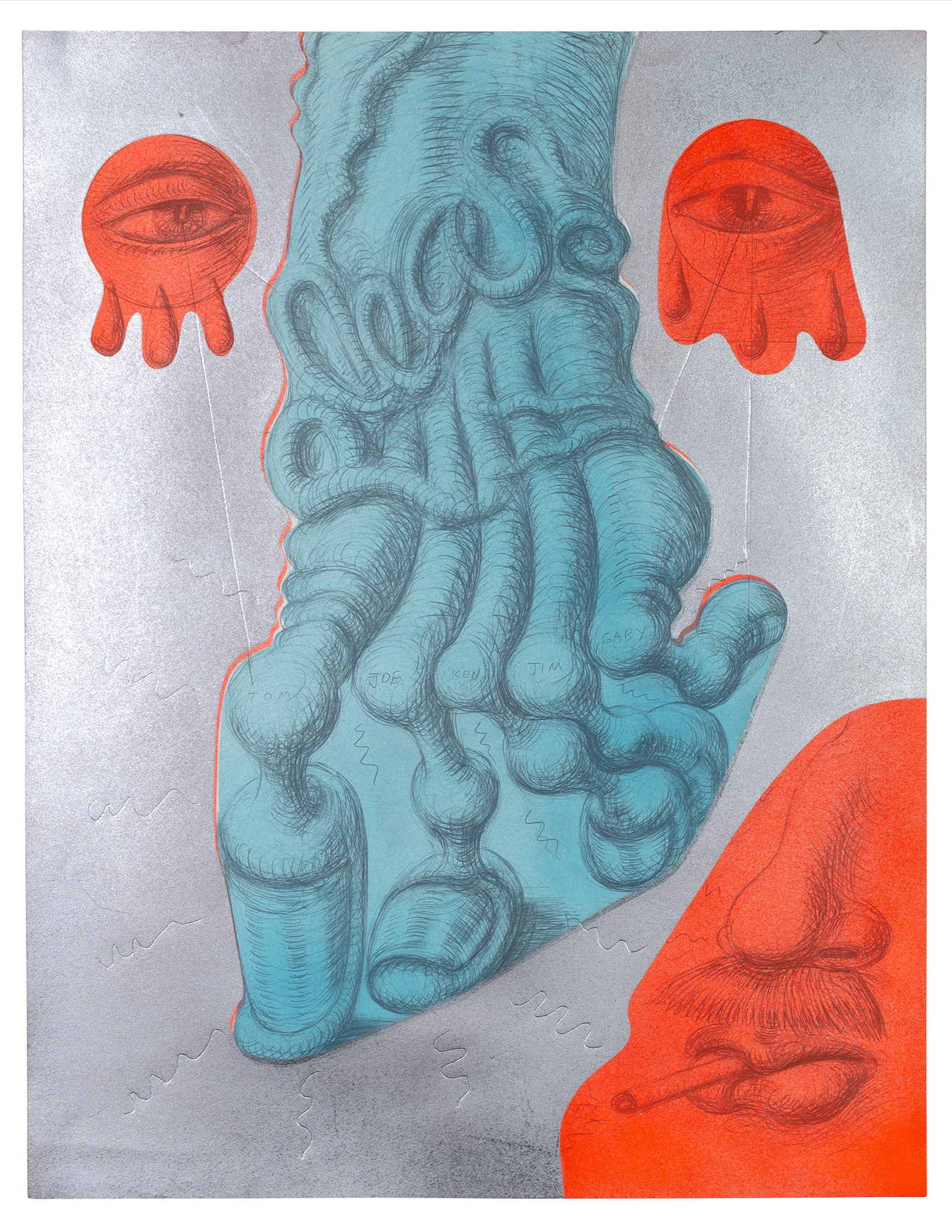 Mike Goodlett, Untitled, 2020, graphite and spray paint on paper, 22 1/2 x 17 1/2 inches