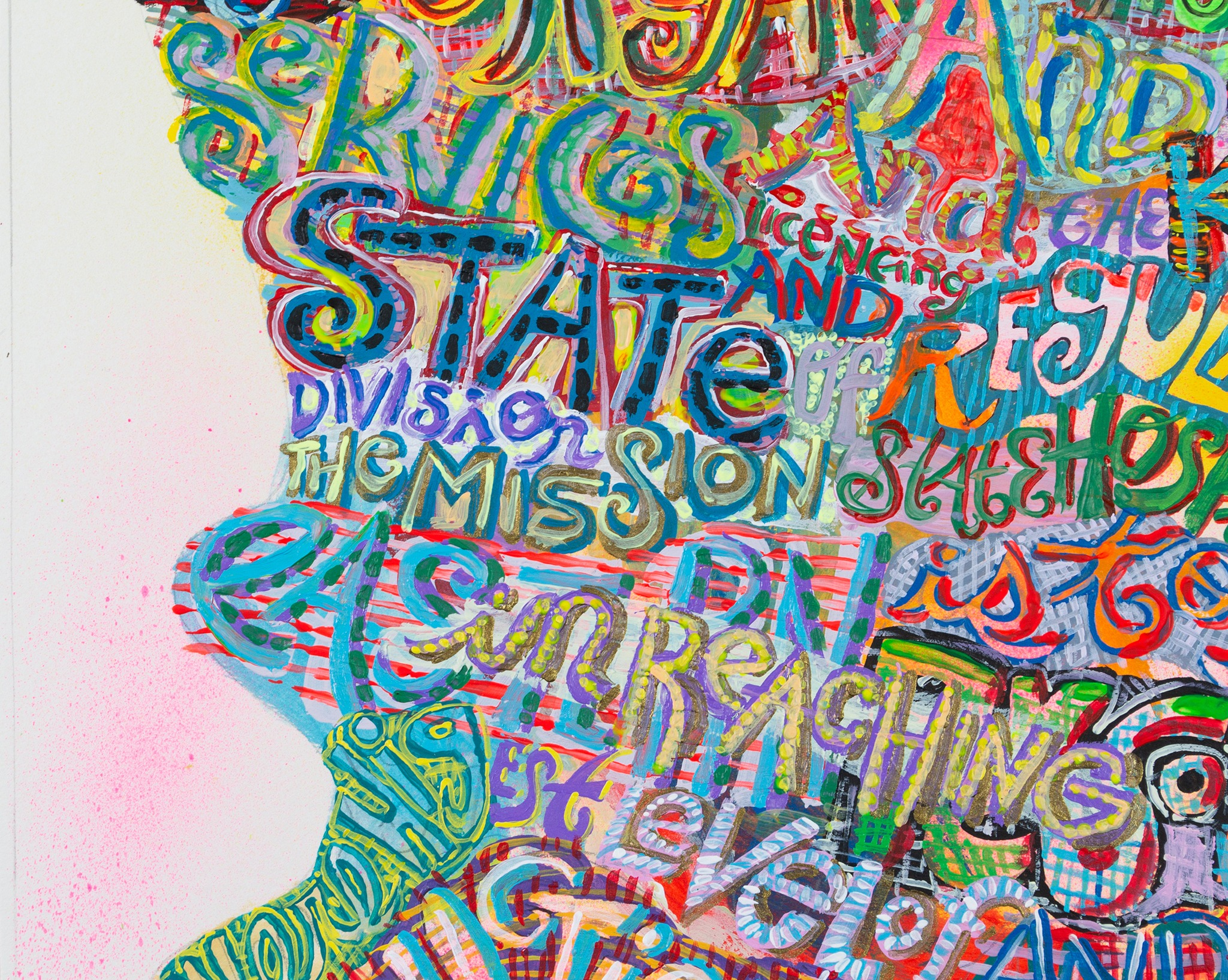 A detail of a painting by Bruce Burris titled State Regulation, dated 2020.