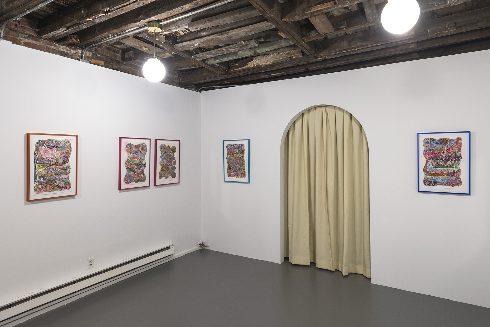 An installation view of the exhibition, Bruce Burris: Friends of Foes, at MARCH x Summertime, Brooklyn, New York, in 2021.