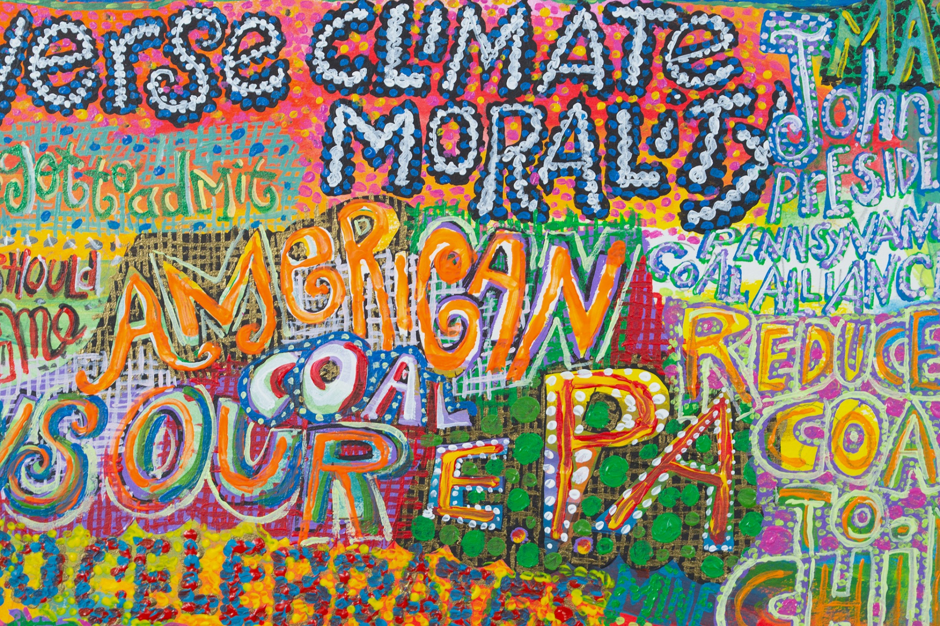 A detail of a painting by Bruce Burris titled Perverse Climate Morality, dated 2020.