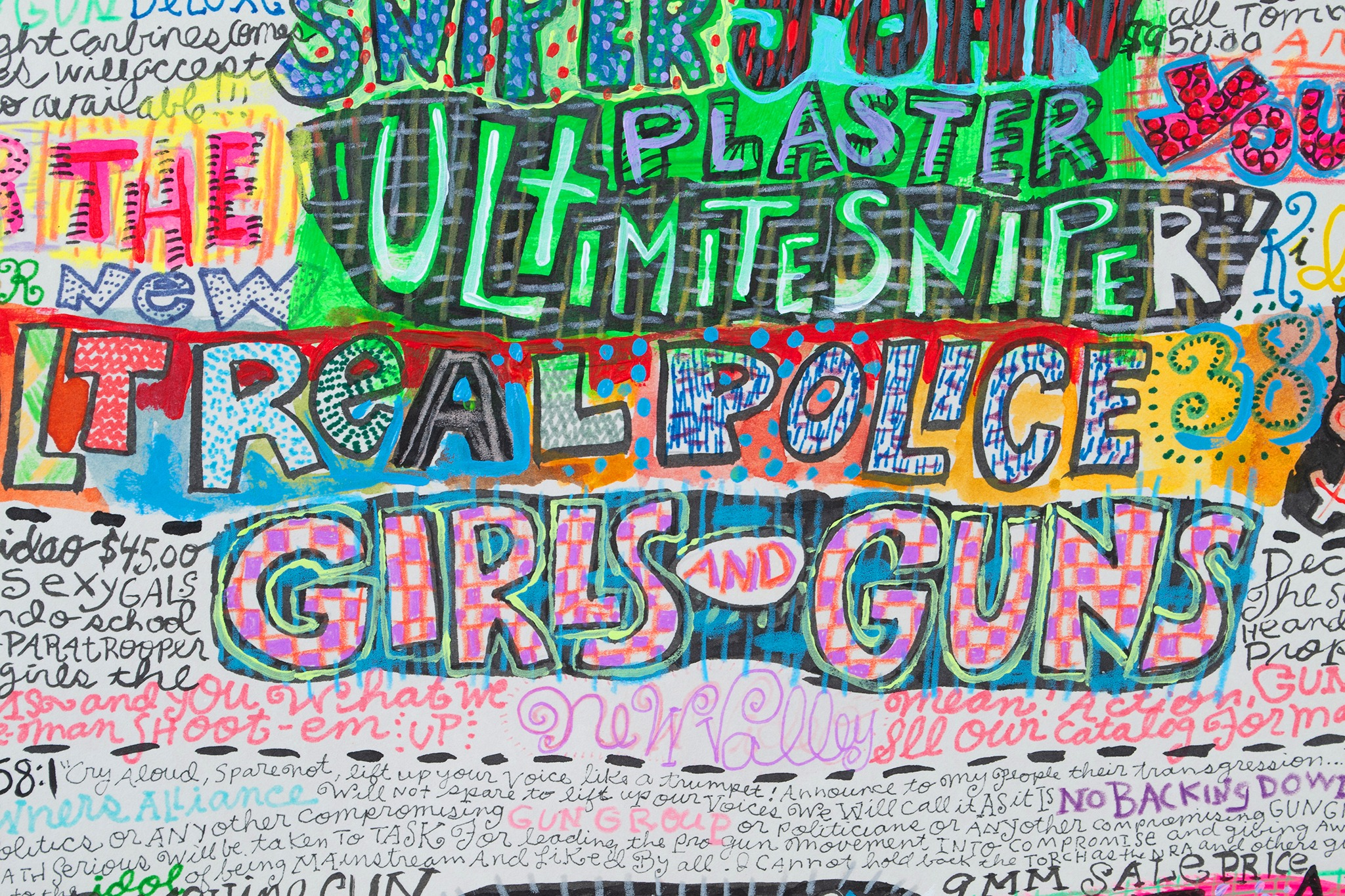A detail of a painting by Bruce Burris titled Girls and Guns, dated 2020.