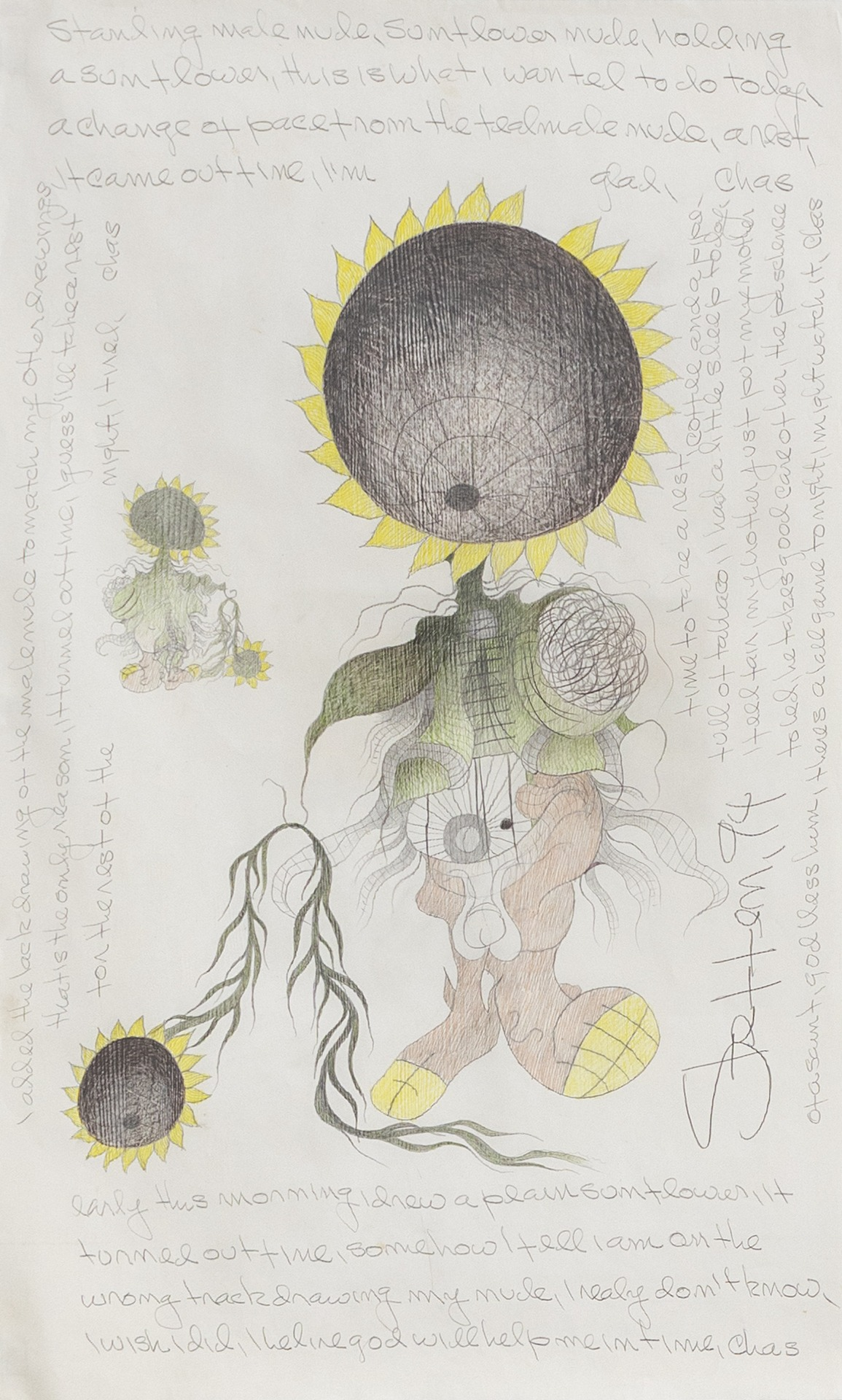 A painting by Charles Steffen titled Untitled (Standing Male Nude, Sunflower Nude, Holding a Sunflower), dated 1994.