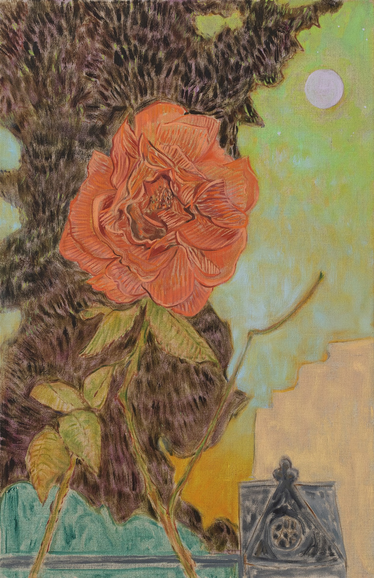 A painting by Hayley Barker titled Lorimer Street Rose, dated 2021.