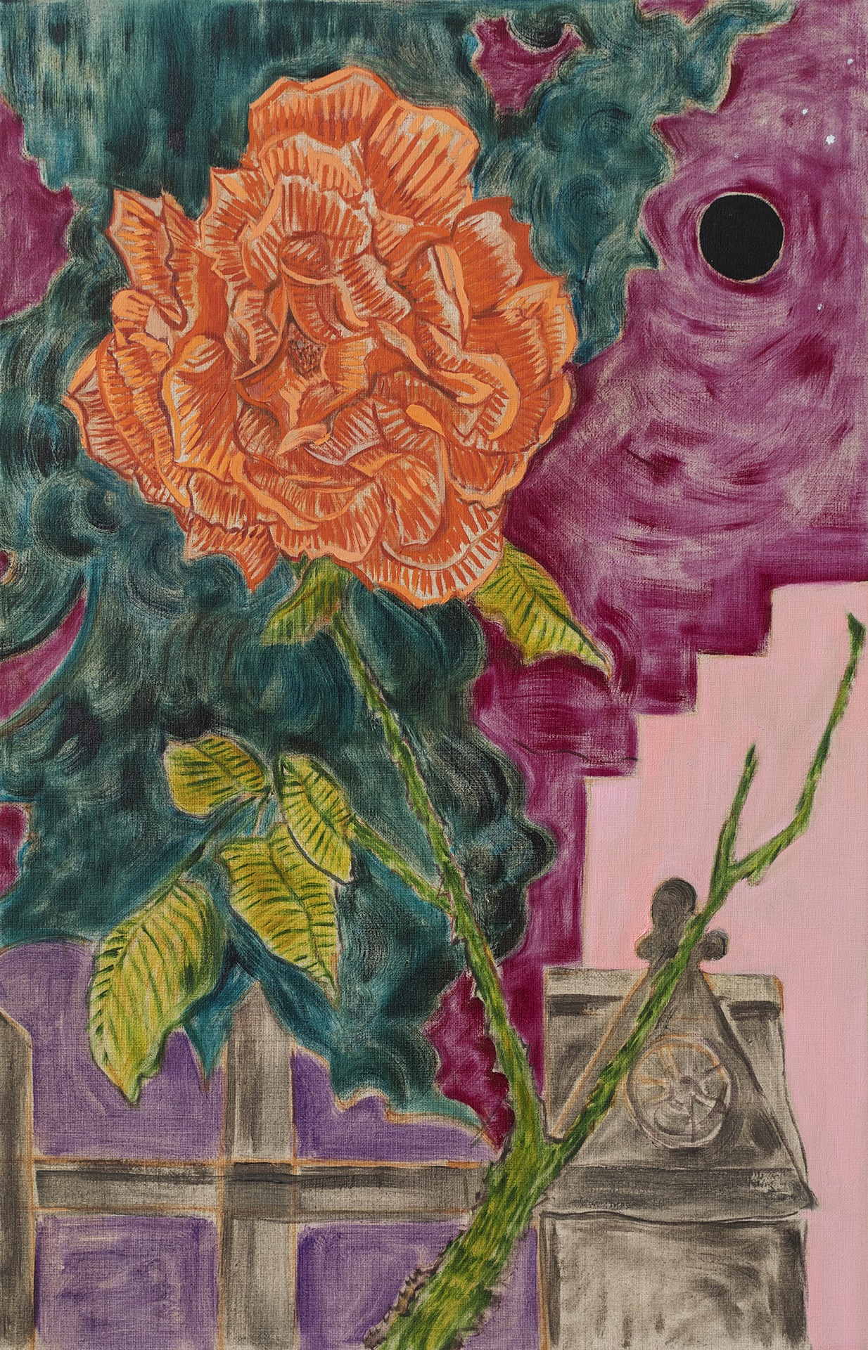 A painting by Hayley Barker titled Lorimer Street Rose New Moon, dated 2021.