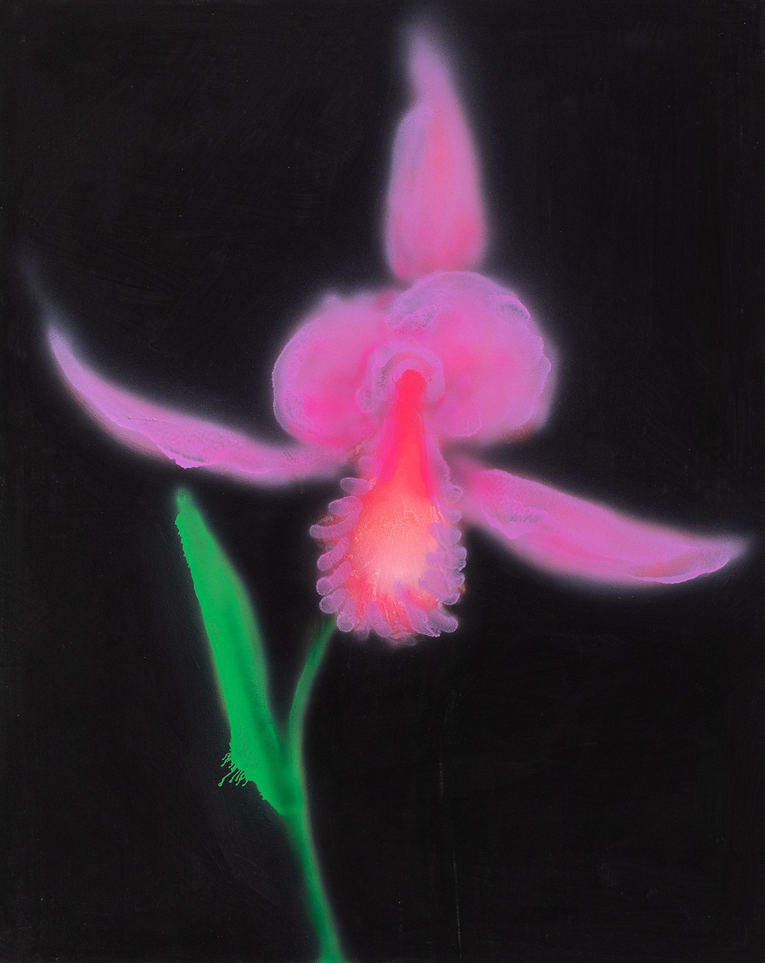 A painting by Kevin Ford titled Lone Orchid, dated 2019.