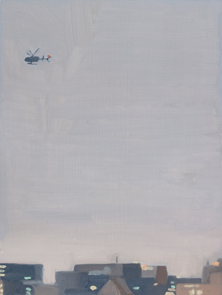 A painting by Claudia Keep titled Helicopter Over the East River, dated 2019.