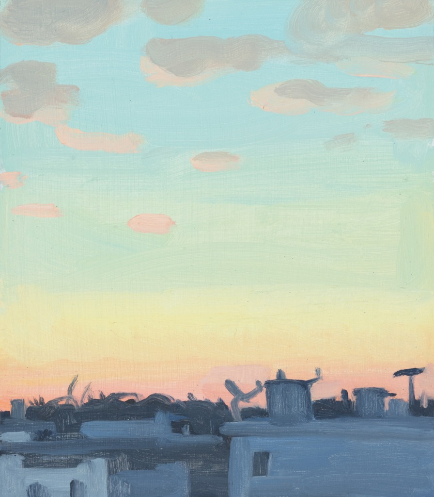 A painting by Claudia Keep titled Sunset From the Forest Avenue M, dated 2020.