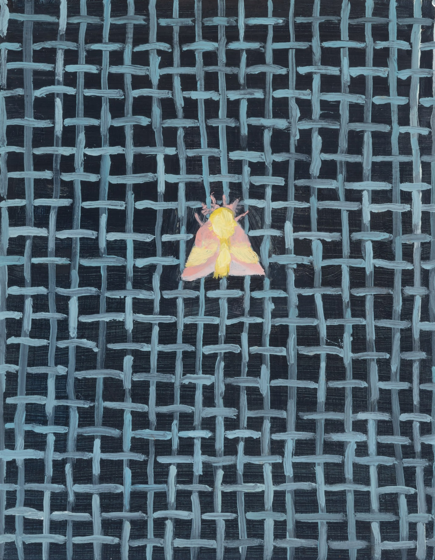 A painting by Claudia Keep titled Rosy Maple Moth, dated 2020.