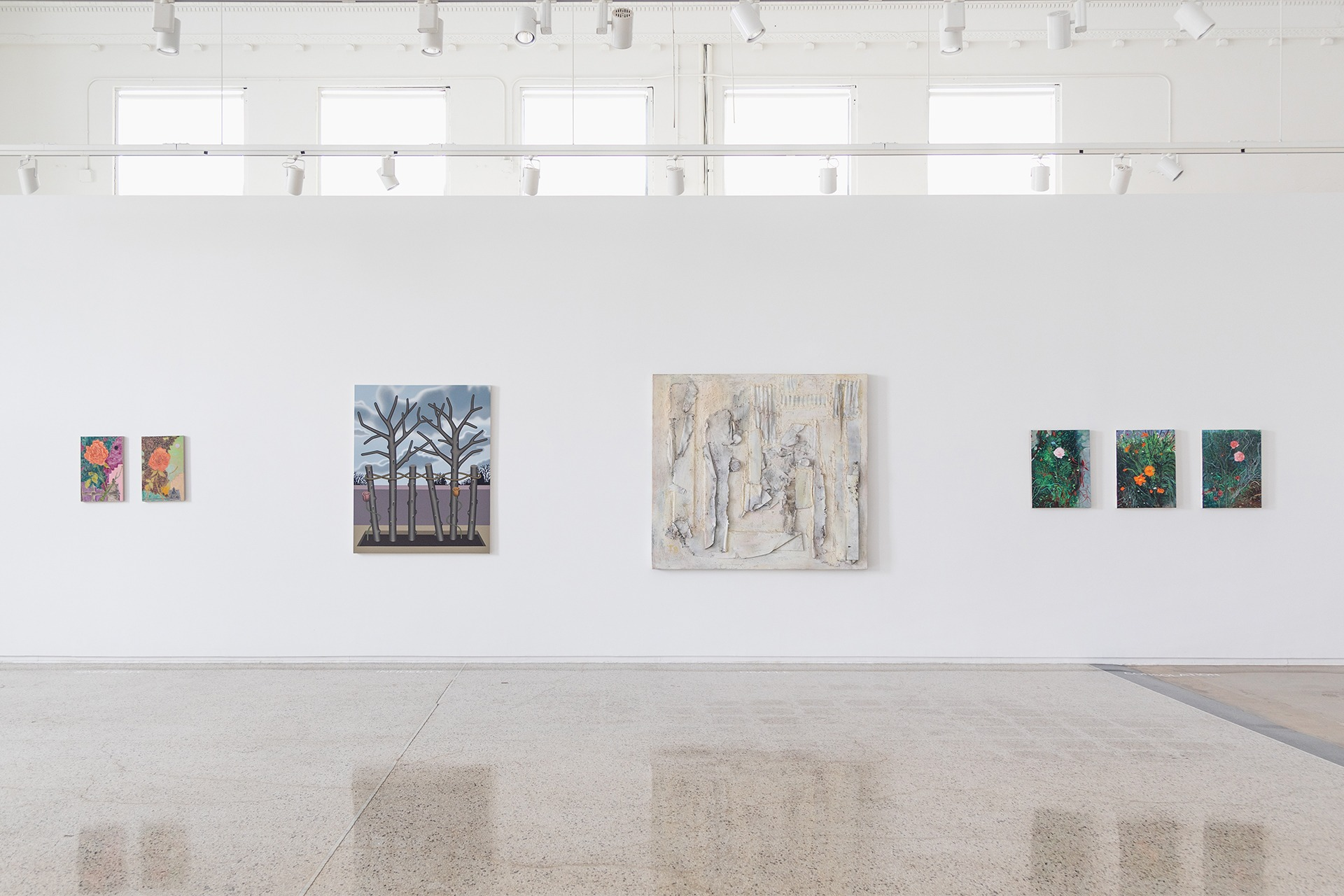 An installation view of the exhibition, The Language of Flowers, at MARCH x Reyes | Finn, Detroit, Michigan, in 2021.