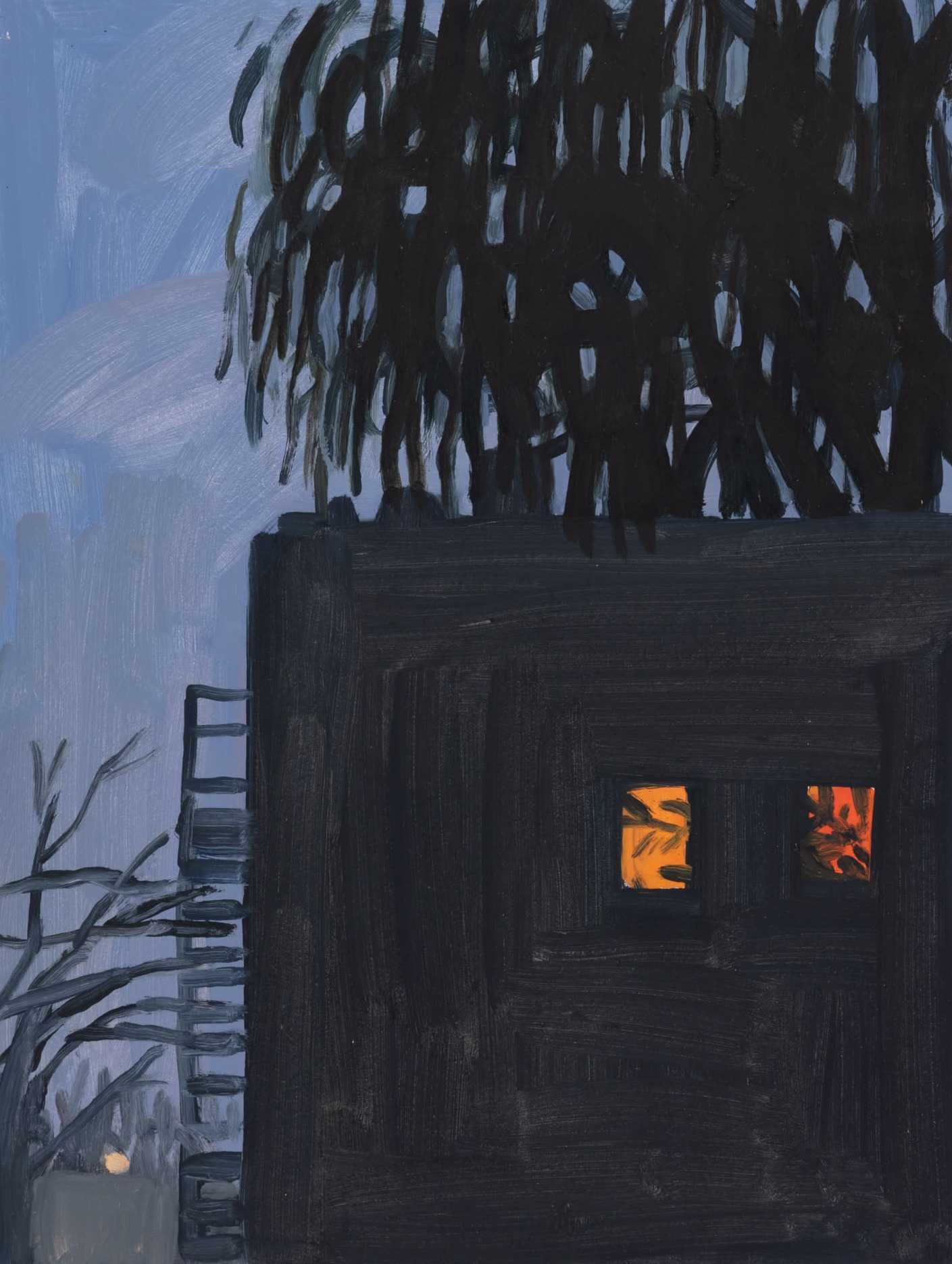 A painting by Claudia Keep titled Marcy Avenue, 7:49 PM, dated 2020.