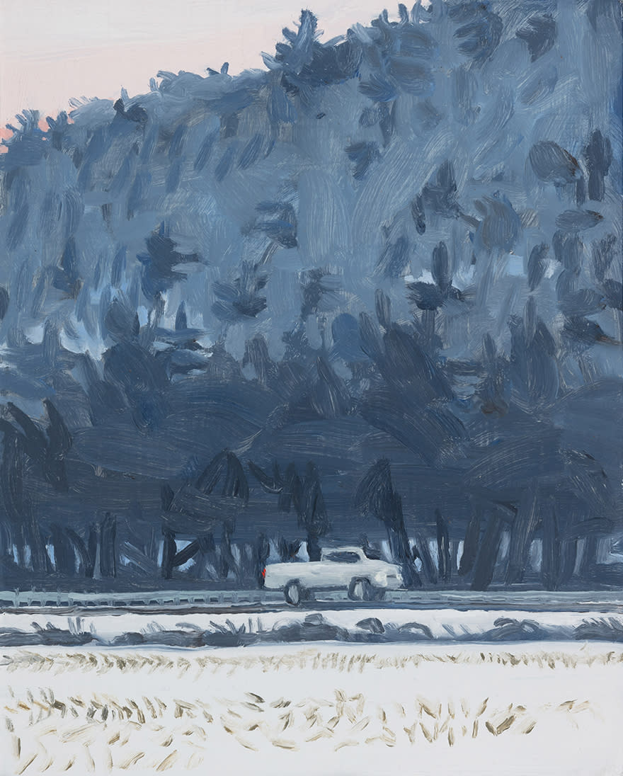 A painting by Claudia Keep titled Driving to Richmond, dated 2021.