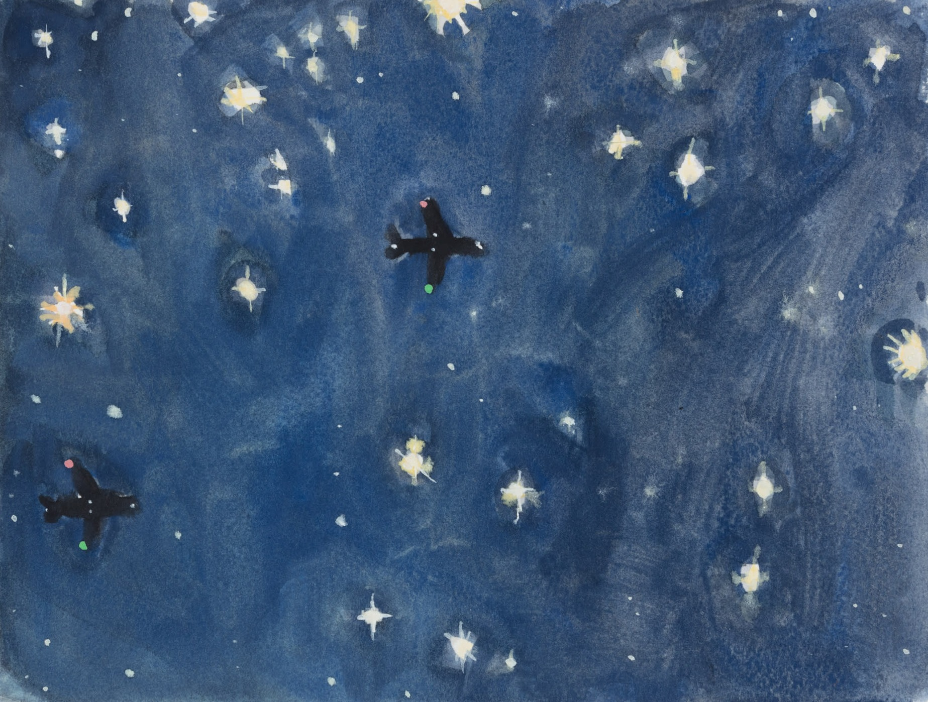 A painting by Claudia Keep titled Looking Up / November 7, 2020, 6:56 PM, Bucks County, Pennsylvania, dated 2020.