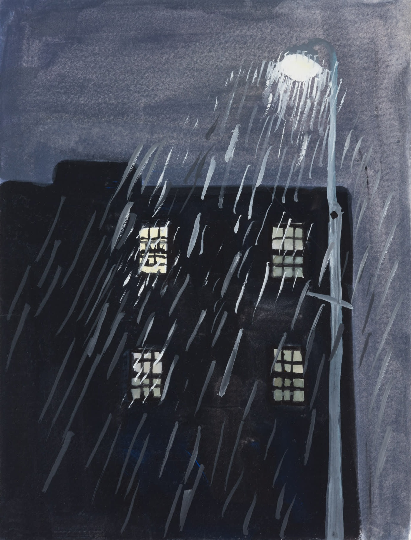 A painting by Claudia Keep titled Rain, 8:50 PM, dated 2020.