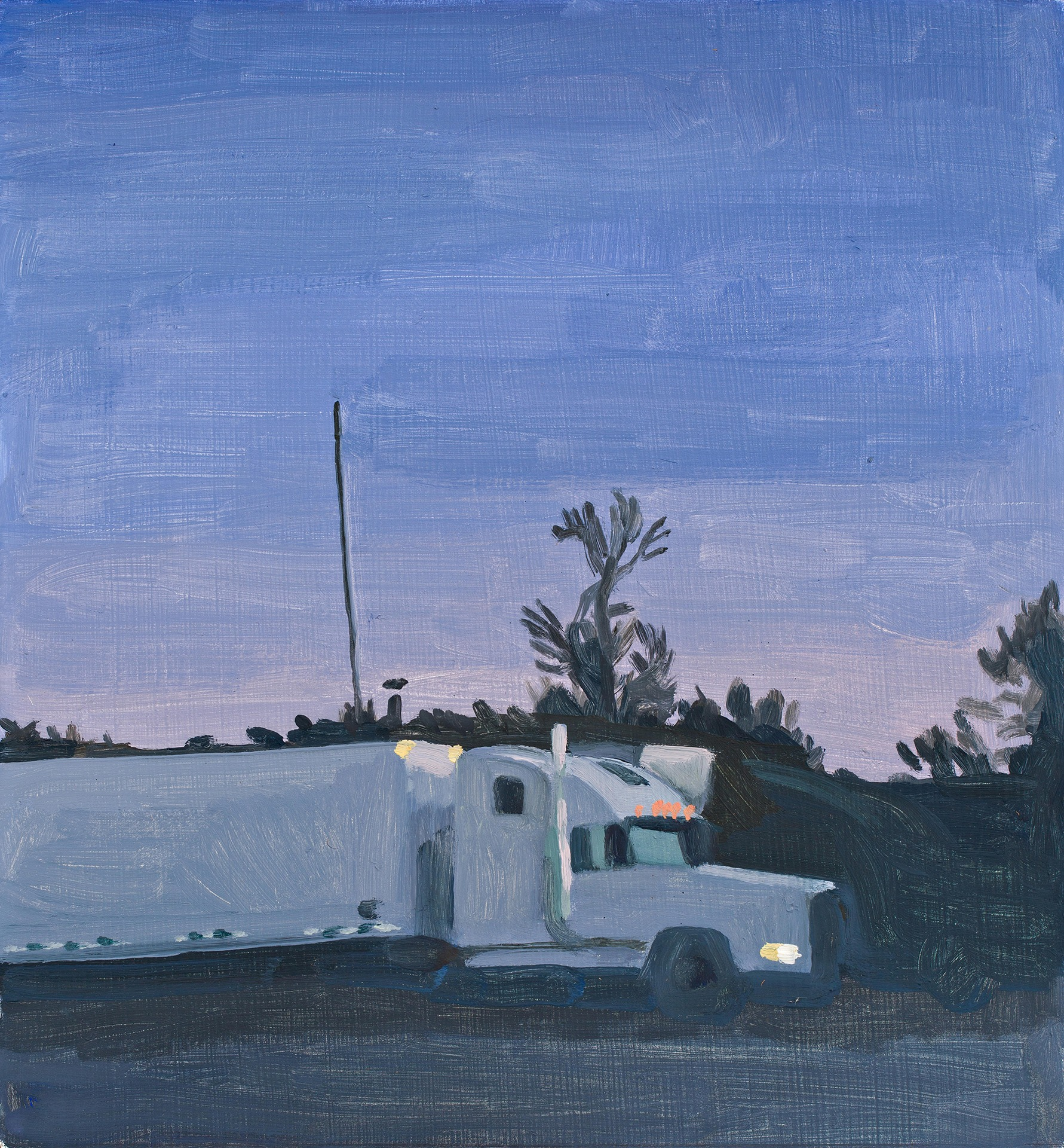 A painting by Claudia Keep titled West Virginia Gas Station, Early Evening, dated 2019.