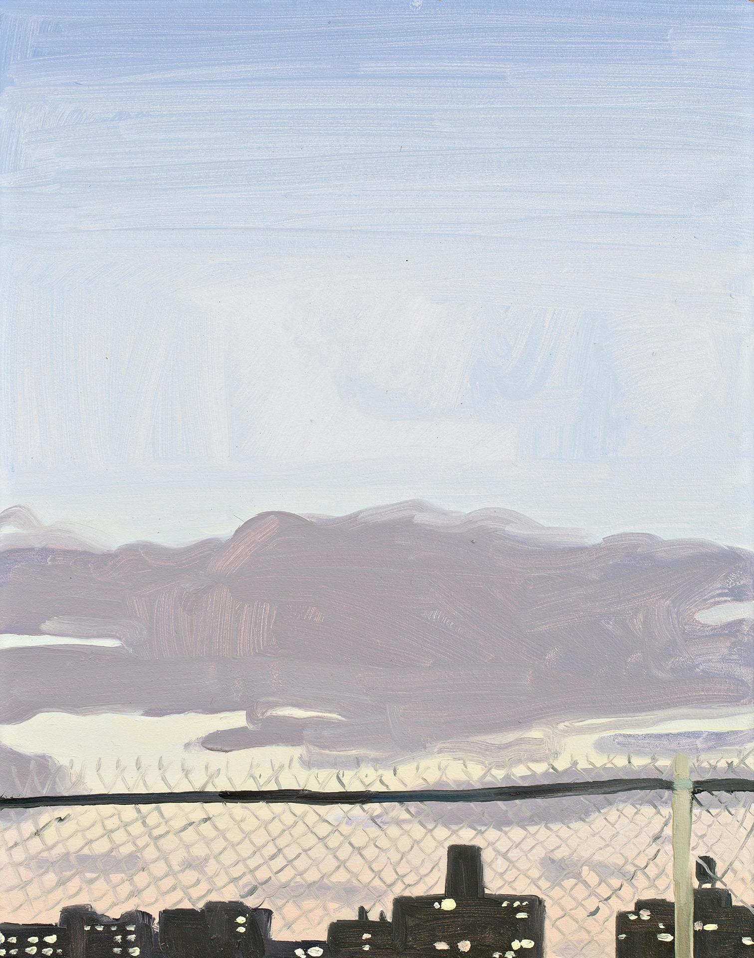A painting by Claudia Keep titled Sunset, Through the Fence, dated 2020.