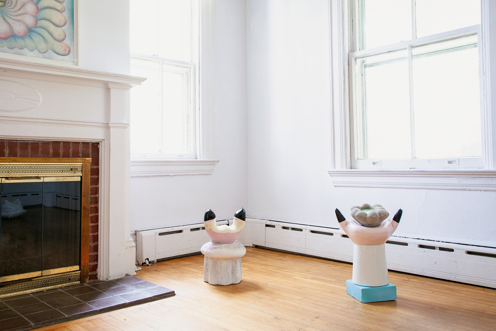 An installation view of Mike Goodlett's work in a Colonial Revival house on Governors Island for NADA House 2021.