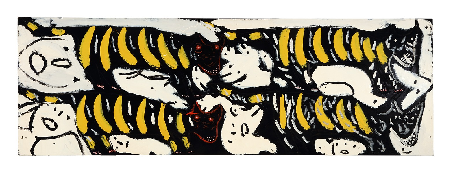 A painting by Thornton Dial titled People Looking for the Tiger Cats / Tigers See So Many Faces They Don't Know Which Way to Turn, dated 1988.
