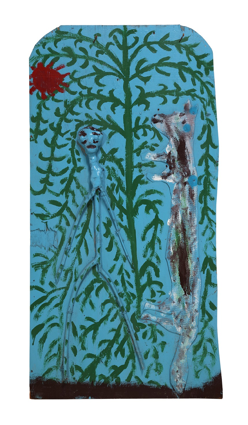 An untitled painting by Thornton Dial (Diptych, right), dated 1987.