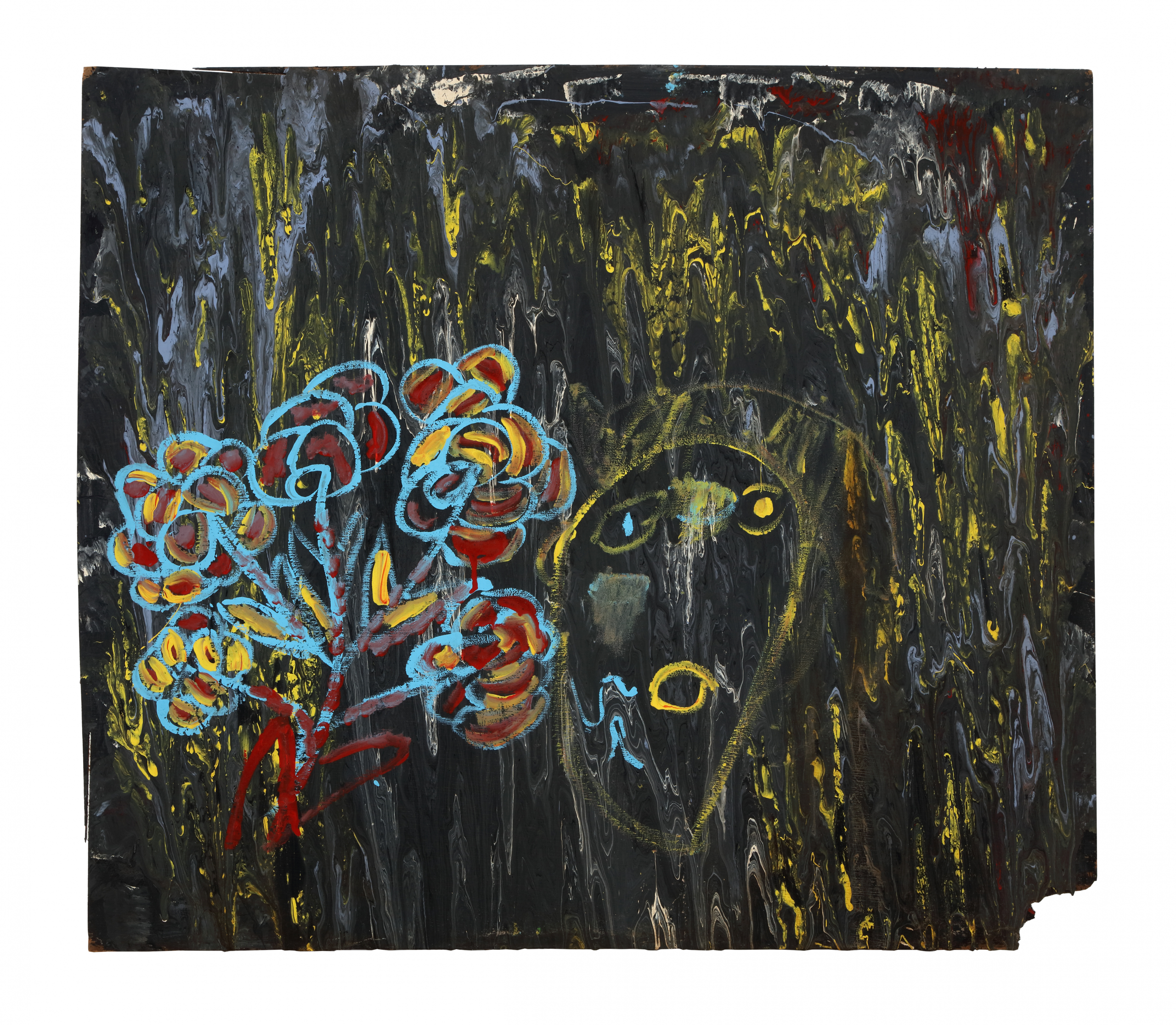 An untitled painting by Thornton Dial, dated 1988.