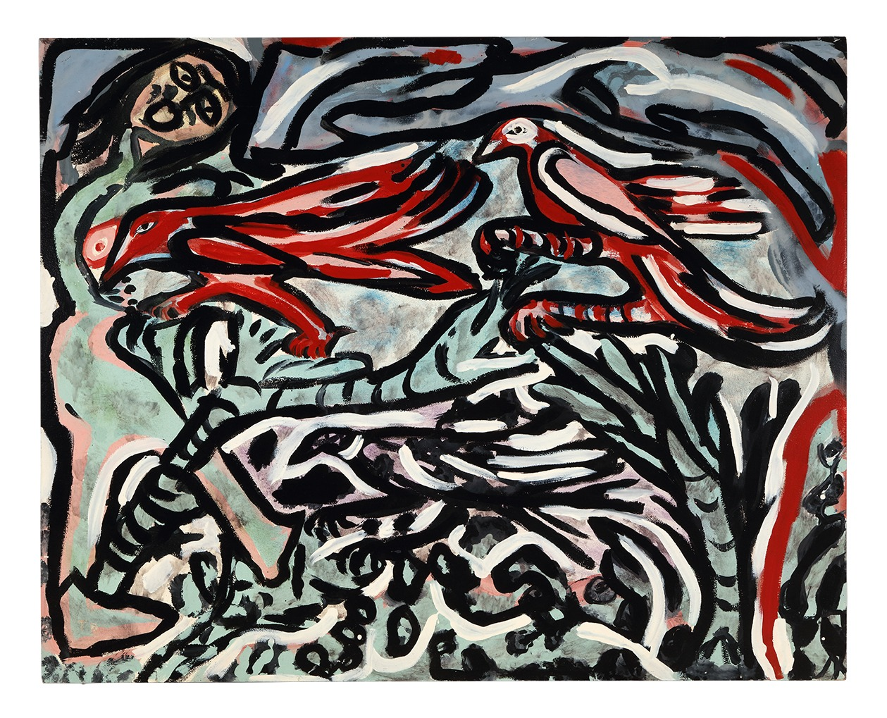 An untitled painting by Thornton Dial, dated 1989.