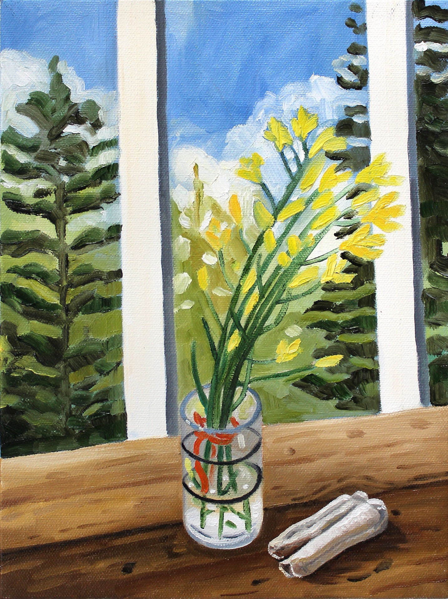 A painting by Lina Tharsing titled Broccoli Flowers and Cow Tooth, dated 2020..