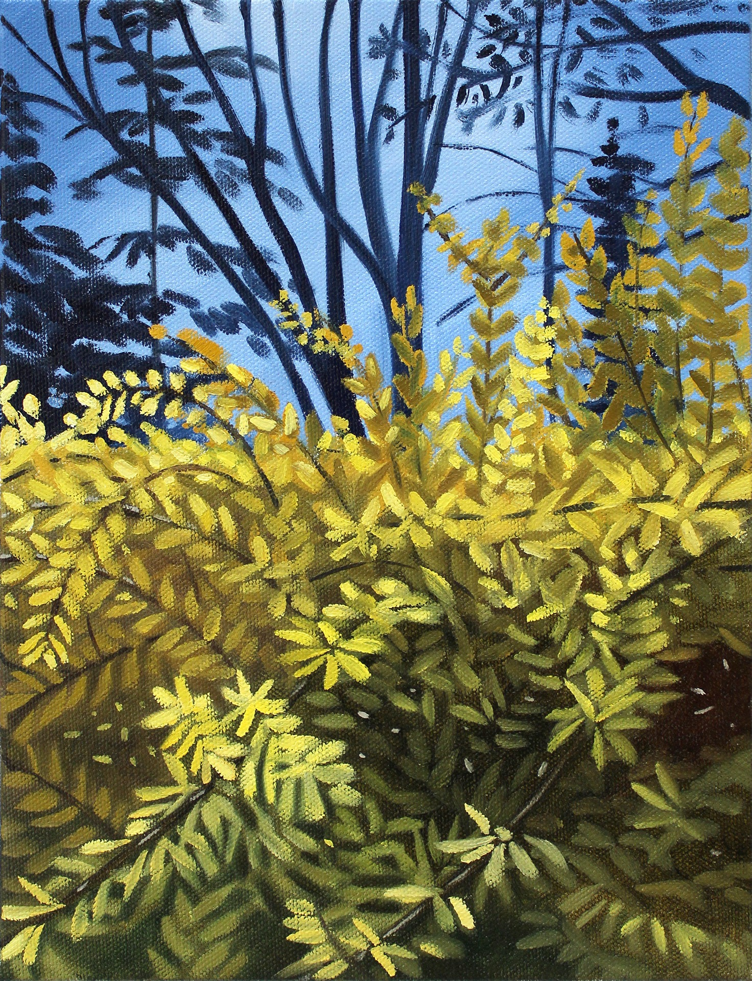 A painting by Lina Tharsing titled Forsythia, dated 2021.