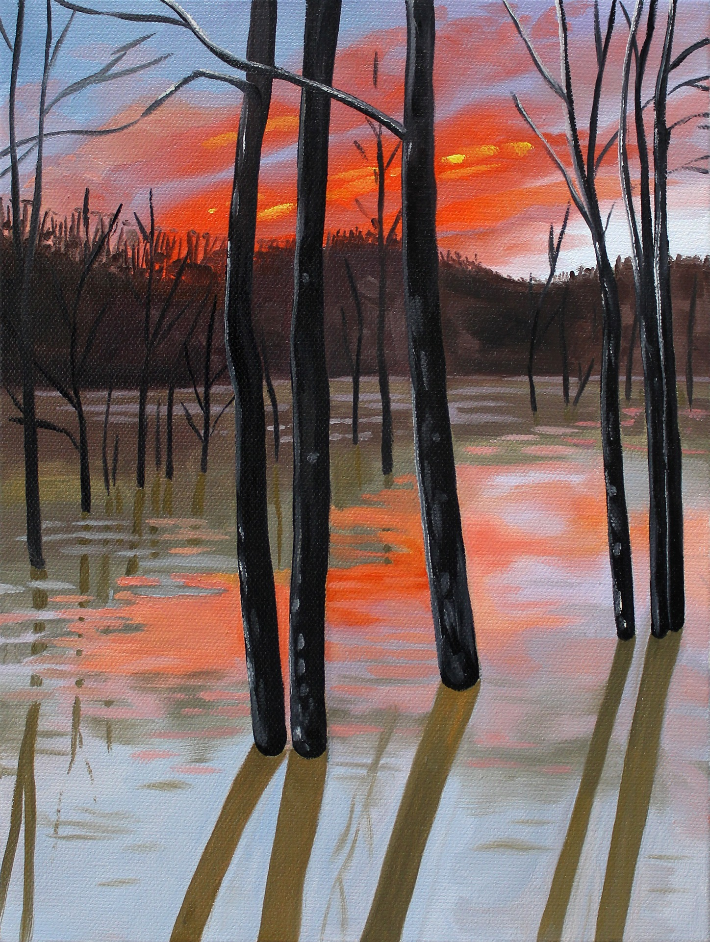A painting by Lina Tharsing titled One Hundred Year Flood, dated 2021.
