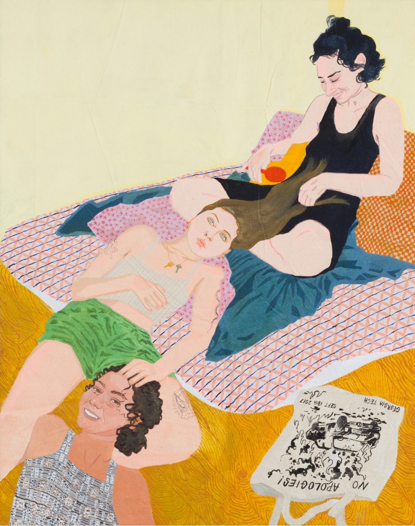 A painting by Dianna Settles titled In the curtained sun (Laura, Faye, Tika), dated 2021.