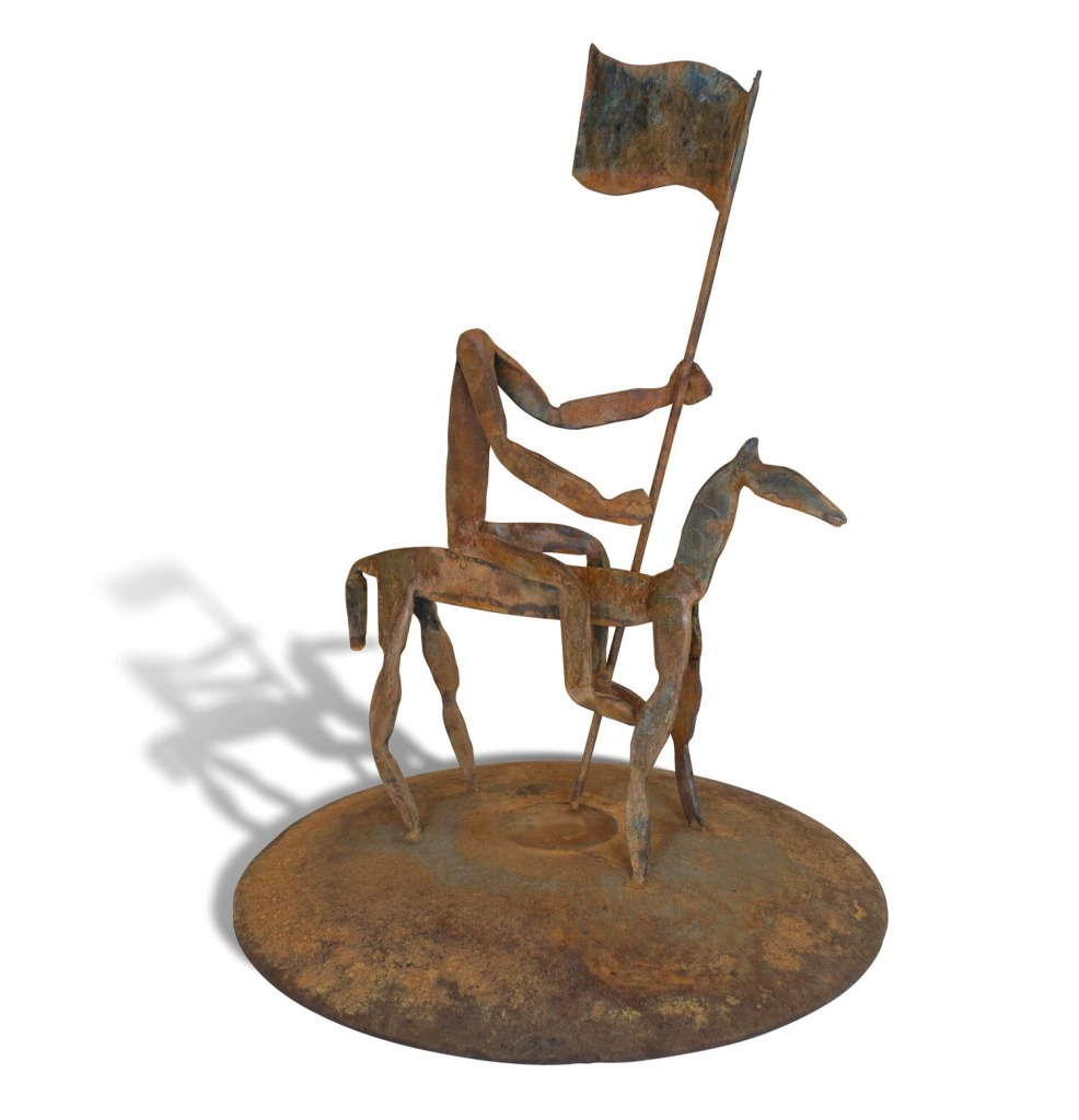 A sculpture by Y. Malik Jalal titled Equestrian Study #1, dated 2021.