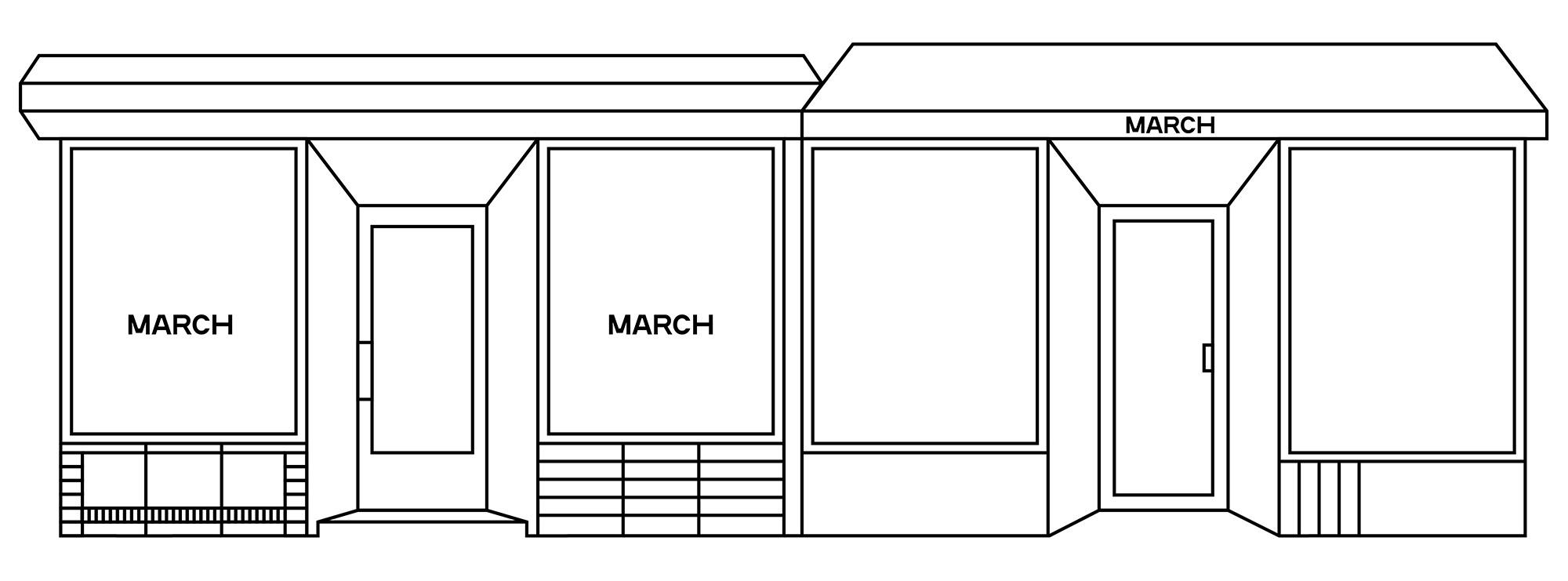 Rendering of MARCH gallery facade